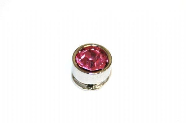 10pcs x 7mm*6mm Round metal bead with baby pink rhinestone -- 1 hole -- S.A -- WC214 -- 5000003